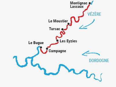 Randonnée canoë 2 jours Vézère
