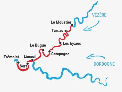 Randonnée canoë 2 jours Vézère/Dordogne