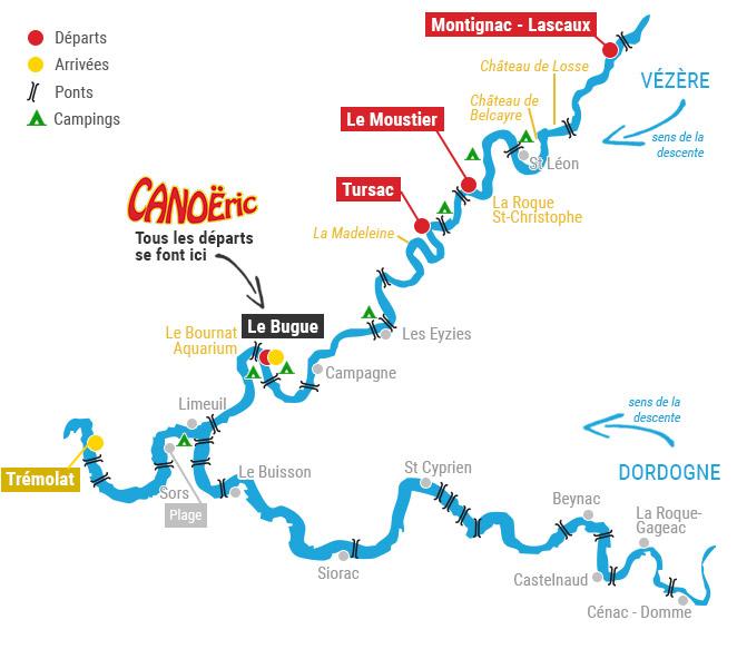 carte des randonnées en canoë sur la Dordogne