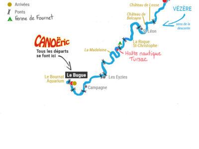 Plan randonnée 2 jours sur la Vézère